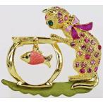 ブローチ スワロフスキー いたずら猫 RUCINNI Playful Cat Brooch with Swarovski Crystal and 20K Gold Plated