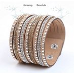 ブレスレット スワロフスキー ベージュ Tan Swarovski Elements Cuff Bracelet by Harmony Bracelets
