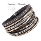 ブレスレット スワロフスキー グレー Grey Swarovski Elements Wrap Glitz Bracelet by Harmony Bracelets