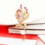 ブローチ スワロフスキー ブランチパール&ピンク Pink Thick 18K Yellow Gold Filled Made With SWAROVSKI Pearl & Crystal Branches Brooch