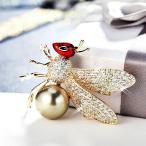 ブローチ スワロフスキー クイーンビーパール Brown+Red Thick 18K Yellow Gold GF Made With SWAROVSKI Crystal Pearl Queen Bee Brooch