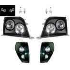 送込 プラド 90 95 黒 LEDイカリングヘッドライト&コーナー SET