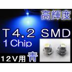 T4.2 / 1chip SMD / 青 / 2個セット / 超高輝度 / LED / 12V / メーター/インジケーター/エアコンなどに