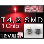 T4.2 / 1chip SMD / 赤 / 2個セット / 超高輝度 / メーター/エアコン/灰皿球に