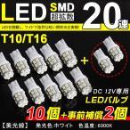【即納】メール便送料無料!T10/T16 LED SMD 20連 ホワイト 12個セット 数量限定 5050SMD ハイパワー LED ホワイト 寿命超長ウェッジ球着