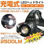 即納!送料無料!米国 CREE製 充電式 LEDヘッドライト 2500ルーメン ブラック/ズーム式/懐中電灯/10W/CREE/軽量/コンパク 【充電式電池&充電器付】