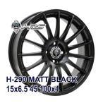 【4枚セット】HRS H-290 15x6.5 +45 100x4 MATT BLACK