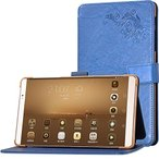 ブルー NTTドコモ dtab Compact d-02H 保護ケース 高級PUレザーカバースタンド機能 液晶フィルム付き