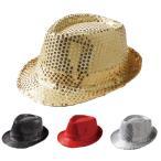 スパンコールハット ダンス用ハット 衣装帽子 中折れ帽 男女兼用 GD295-3144 マジック ステージ小物