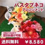 フラワーアレンジ 花 ギフト プレゼント 送料無料 ペット バスタブネコのアレンジメント 誕生日プレゼント 結婚記念日 送別 贈り物 お祝い