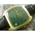 ゼニス・ZENITH アンティーク 腕時計 グリーンダイアル BOX ブレス付 トノー型 緑文字盤 自動巻き デイト 1970年代 ゴールドカラー