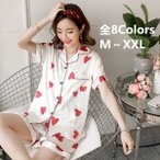 パジャマ レディース 春夏 ルームウェア 前開きパジャマ 2点セット シルク 半袖 パンツ 花柄 シャツパジャマ 寝間着 部屋着 体型カバー  韓国風 可愛い
