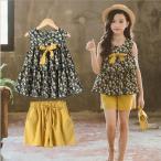 Yahoo!アユストア韓国こども服 セットアップ 子供服 上下 2点セット半袖Tシャツ トップス パンツ カジュアルパンツ サルエル 女の子 可愛いスタイル シンプル Tシャツ+パンツ