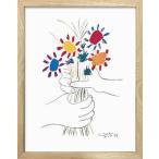 名画アートフレーム 花束を持つ手 パブロ・ピカソ(Pablo Picasso)/絵画 壁掛け 壁飾り インテリア 油絵 花 アートパネル ポスター 絵
