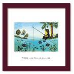 アートフレーム ゆうパケット Atelier Flower Horizon  Fishing frog/絵画 壁掛け 壁飾り インテリア 油絵 花 アートパネル ポスター 絵 額入り リビング 玄関
