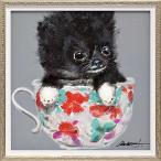 絵画 油絵 オイル ペイント アート「ティーカップ ドッグ2(Sサイズ)」 絵画 壁掛け 壁飾り インテリア