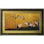 日本画/和風フレーム ツルの舞/絵画 壁掛け 壁飾り インテリア 油絵 花 アートパネル ポスター 絵 額入り リビング 玄関