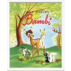 Disneyポスター/ビンテージ ディズニー シリーズ Bambi 1 バンビ/絵画 壁掛け 壁飾り インテリア 油絵 花 アートパネル ポスター 絵 額入り リビング 玄関