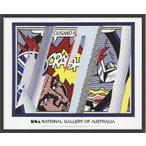 ポスター アート Reflections on Crash(ロイ リキテンスタイン) 額装品 ウッドベーシックフレーム