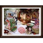ポスター アート Alice in Wonderland (Tea Party)(レスリー ディトー) 額装品 ウッドハイグレードフレーム