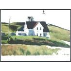 ポスター アート Hill and Houses Cape Elizabeth Maine 1927(エドワード ホッパー) 額装品 アルミ製ベーシックフレーム