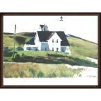 ポスター アート Hill and Houses Cape Elizabeth Maine 1927(エドワード ホッパー) 額装品 ウッドハイグレードフレーム