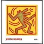 ポスター アート Untitled  1982 (red dog on yellow)(キース ヘリング) 額装品 アルミ製ベーシックフレーム