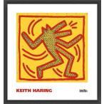 ポスター アート Untitled  1982 (red dog on yellow)(キース ヘリング) 額装品 ウッドベーシックフレーム