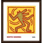 ポスター アート Untitled  1982 (red dog on yellow)(キース ヘリング) 額装品 ウッドハイグレードフレーム
