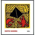 ポスター アート Untitled  1982 (red dogs with pyramid)(キース ヘリング) 額装品 アルミ製ベーシックフレーム