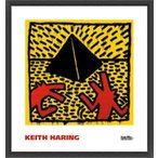 ポスター アート Untitled  1982 (red dogs with pyramid)(キース ヘリング) 額装品 ウッドベーシックフレーム