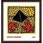 ポスター アート Untitled  1982 (red dogs with pyramid)(キース ヘリング) 額装品 ウッドハイグレードフレーム