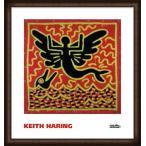 ポスター アート Untitled  1982 (mermaid with dolphin)(キース ヘリング) 額装品 ウッドハイグレードフレーム