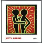 ポスター アート Untitled  1982 (couple in black  red  and green)(キース ヘリング) 額装品 アルミ製ベーシックフレーム