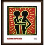 ポスター アート Untitled  1982 (couple in black  red  and green)(キース ヘリング) 額装品 ウッドハイグレードフレーム