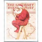 Santa at the Map 1992(ノーマン ロックウェル) 額装品 アルミ製ベーシックフレーム