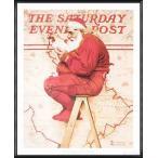 Santa at the Map 1992(ノーマン ロックウェル) 額装品 アルミ製ハイグレードフレーム