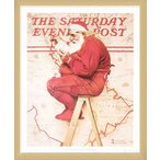 Santa at the Map 1992(ノーマン ロックウェル) 額装品 ウッドベーシックフレーム