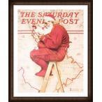 Santa at the Map 1992(ノーマン ロックウェル) 額装品 ウッドハイグレードフレーム
