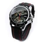 自動巻き 腕時計 メンズ 機械式 スケルトン カジュアル スポーツ ラバー バンド ベルト ブラック ミリタリー