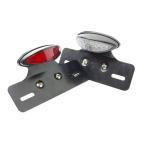バイク LEDテールランプ ユニット + ナンバー灯付 クリア/レッド 汎用 12V