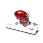 バイク LEDテールランプ ユニット + ナンバー灯付 ミニキャッツアイ/オーバル メッキタイプ