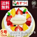 ショッピング誕生日 誕生日ケーキ プレート付リース生クリームケーキ5号バースデーケーキ