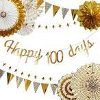 100日お祝い 飾り 男の子 女の子 誕生日 飾り付け ペーパー ファン セット お食い初め 飾り ハーフバースデー パーティー デコレーシ