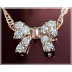 ショッピングネックレス ネックレス ダイヤモンド 0.12ct リボンモチーフ K18ピンクゴールド 4月誕生石