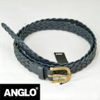 ANGLO LEATHER CRAFT アングロレザークラフト レザー メッシュベルト イングランド製 NAVY ネイビー