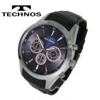 【送料無料】TECHNOS/テクノス クロノグラフ レザーバンド腕時計 T9441SN