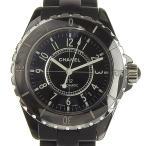 03楽市  CHANEL シャネル J12 セラミック ラバー メンズ オートマ 腕時計 黒 H0684