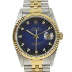 B楽市本店 本物 美品 Rolex ロレックス デイトジャスト メンズ オートマ 腕時計 16233G L番台 ブルグラ 16233G