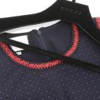 03楽市 本物 Gucci グッチ ジャケット ワンピース ポルカドット セットアップ 紺 38 40